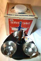 New Vnt. Foley Black Revolving Server W/ Lidded Stainless Bowls & Spoons w/Box