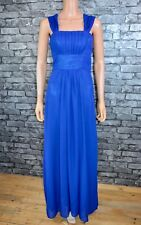 Women's Long Royal Blue Pleated Lined Chiffon Ballgown Prom Evening Dress Size 8
