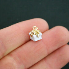 2 White Present Charms Goldplated Enamel Fun and Colorful E220