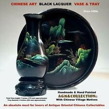 CHINESE BLACK LACQUER ART / VASE & TRAY/ HANDMADE & HAND PAINTED / 1950s
