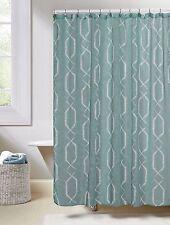 "Blue Linen Textured Sheer Fabric Shower Curtain: White Geometric Design, 70""x72"""