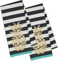 Gold Pineapple Black & White Striped Teal Kitchen Dish Towels Cotton Set of 2