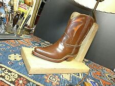 RARE Brandt Ranch White Oak REAL Leather Cowboy Boot Lamp