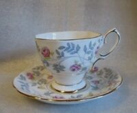 🌹Vintage ROYAL ALBERT Tea Cup Saucer CONWAY Gray 🌹 Hand Painted Pink Roses💕