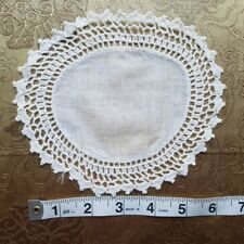 A36 Antique Crochet Lace Small Round Doily Home Decor Dollhouse Rug Primitive