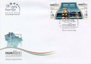 Hungary Bridges Stamps 2021 FDC HUNFILEX Budapest 2022 Stamp Shows 2v Set