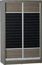 LISBON BLACK WOOD GRAIN 2 DOOR SLIDING WARDROBE *FREE NEXT DAY DELIVERY