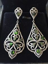 Champagne Diamond, Emerald & Sterling Silver Earrings from Forever Creations