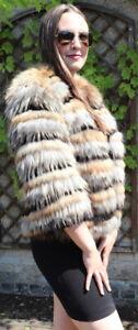 Fur Jacket Fox Fur Saga Fox Finnraccoon Fur Denim Black Natural Beige S