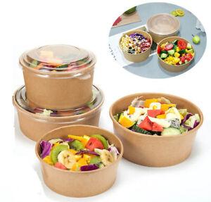 Take Away Kraft Paper Salad Bowl Food Grade Takeout Tableware Food Bowl With Lid