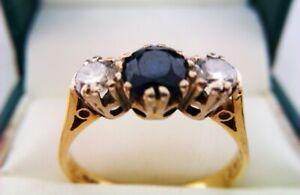 Rare & Beautiful Vintage 18ct Gold Platinum Sapphire & Diamond Ladies Ring 1979
