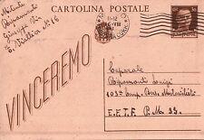 CARTOLINA POSTALE 1943 - VINCEREMO - PER BERSAGLIERI MOTOCICLISTI P.M.33  32-148
