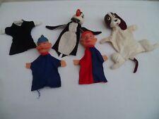 Anciennes 4 marionnettes de théâtre  vintage désigner 1960/70'S