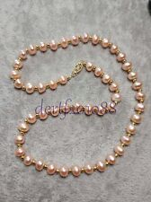 """8-7MM Pink South Sea Pearl Gemstones Bead 14k Clasp Necklace 18"""""""