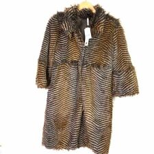 Willow & Clay Womens Faux Fur Coat Beige Brown 3/4 Length Buttons Striped XS New