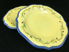"2 Salad Plates Pistoulet Pfaltzgraff Stoneware 205154 Yellow 9.25"" Blue Rim"