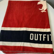 American Eagle Outfitters throw blanket fleece red white blue 100% polyester