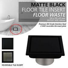 Square MATTE BLACK Smart Floor Waste Tile Insert | SUS304 Stainless Steel
