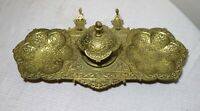 large antique ornate 1800's Victorian gilt bronze desk inkwell stand brass jar