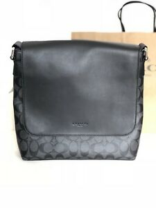 NWT Coach F28575 Mens Charles Small Messenger PVC Signature Charcoal Black $375
