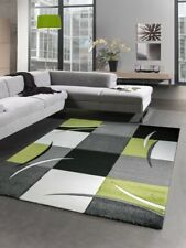 Designer rug living room carpet karo green grey cream black