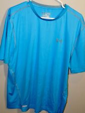 Pre-owned Under Armour Heat gear aqua blue activewear top Men's Size 2Xl Fitted