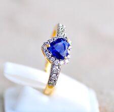 STUNNING 18KT YELLOW GOLD TOP GRADE HEART BLUE SAPPHIRE DIAMOND RING