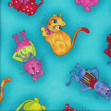 Colourful Tossed Cats on Turquoise Loralie Designs Quilting Fabric FQ or Metre *