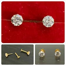 18ct Gold Earrings, Ear Studs in Solid 18k carat Yellow Gold - CZ 4mm