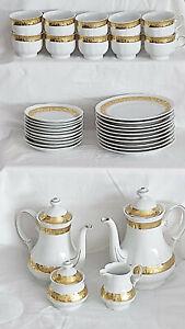 Kaffee/Teegeschirr mit figürlichem Goldrand Mitterteich Porzellan