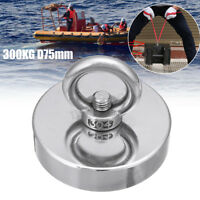 300KG D75mm Neodymium Salvage Fishing Magnet Recovery Metal Treasure Hunting