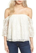 $158 Ella Moss Lace Top XS 0 2 Natural Ivory Feminine 3/4 Sleeves Pullover NWT