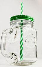 Volvic, Eistee, Icetee, Jar Glas, Eisteekrug, Eisteeglas, grüne Ausführung  Halm