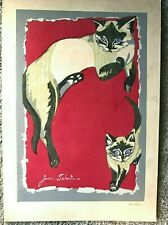 OOAK Junichiro Sekino Original Painting Siamese Cat and Kitten Bright Red Signed