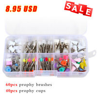 100PCS Dental Teeth Prophy Polishing Brushes Cups Rubber Polish Latch Type Mixed