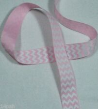 "5 metres x 22mm 7/8"" Grosgrain Chevron Pearl Pink 123 & White Ribbon NEW"
