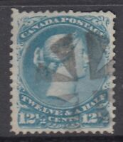 """Canada Scott #28i  12 1/2 cent milky blue  """"Large Queen""""  F"""