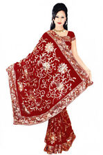 Maroon Saree Sari Bellydance Bollywood Sequin Embroidery Costume danse du ventre
