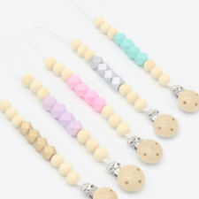 Wooden Hexagon Beads Dummy Pacifier Clip Holder Soother Chain Baby Teething Toys