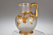 c. 1885 Reg No. 39086 HAMMERED METAL Wittmann & Roth CRYSTAL w/GOLD Pitcher