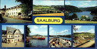 """SAALBURG bei Schleiz Breitbild-Postkarte DDR ua. Schiff MS """"Gera"""" Künsdorf Bucht"""