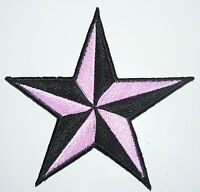 Get THREE PINK 3 inch iron on NAUTICAL STAR patches appliques