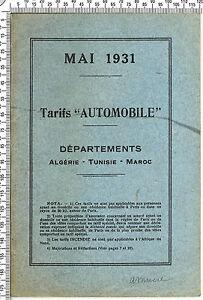 """Livret de Tarifs des Assurance """"Automobile"""" Algérie-Tunisie-Maroc. Mai 1931"""