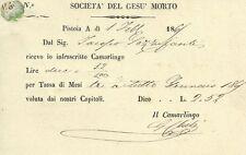 Società del Gesù Morto in Pistoia 1865