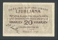 SLOVENIA - YUGOSLAVIA  20 Vinarjev = 20 Heller 1919 VF Ljubljana local note RARE