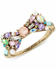 NWT Betsey Johnson Multicolor Crystal Stone Bow and Pearl Hinged Bangle Bracelet