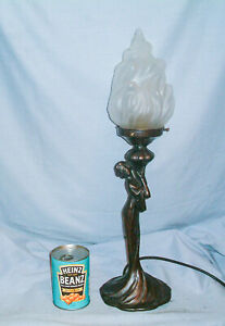 Art Nouveau / Deco  'Lady' Lamp with Flame Shade