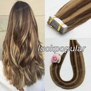 Seamless Tape in Hair Extensions Remy Human Hair Balayage 4/27MediumBrown Blonde