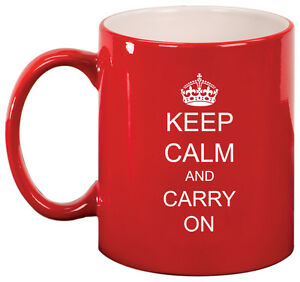 11oz Ceramic Coffee Tea Mug Glass Cup Keep Calm and Carry On