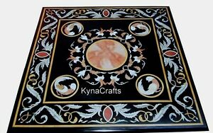 """Black Marble Corner Table Top Intricate Work Coffee Table for Home Furniture 24"""""""